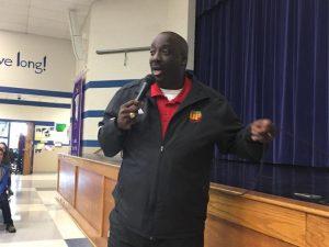 Ron Harris giving a motivational speech